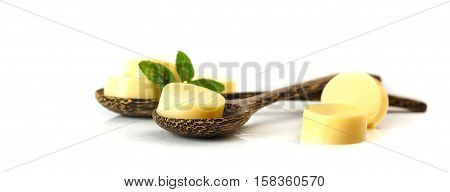 Egg Tofu On Wooden Spoon