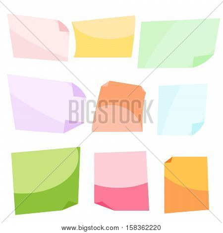 Sticky colorful notes. Stationery clip vector. Memo reminder notes for message board.