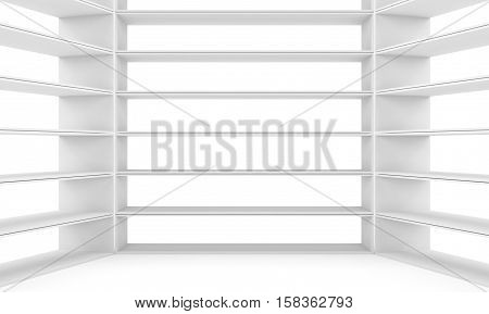 Empty shelves, blank bookcase library. White background. 3D rendering