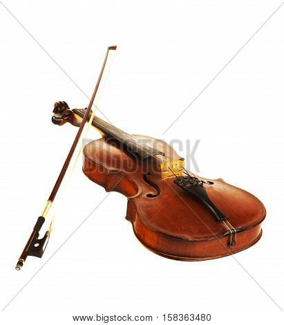 Bottom View of a Violin, Isolated on White