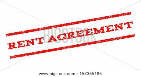 Rent Agreement watermark stamp. Text tag between parallel lines with grunge design style. Rubber seal stamp with dust texture. Vector red color ink imprint on a white background.