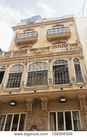 Valencia (Spain) exterior of historic building with balconies