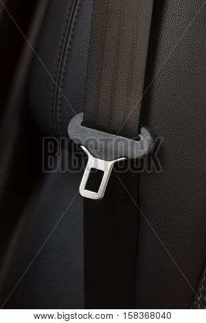 Close Up of a Seat Belt on Leather Chair