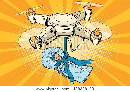 Drone quadcopter delivery of a newborn baby, pop art retro vector illustration. The concept of artificial insemination, maternity, birth and birthday