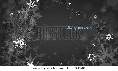 Christmas silver background with snowflakes and decent blue Merry Christmas text - dark version