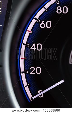 Close up Detail of a Speedometer in a Car