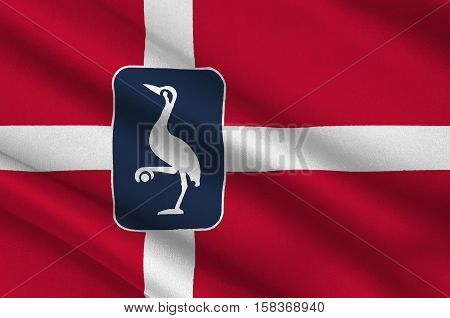 Flag of Laeso is a municipality in Region Nordjylland in Denmark. 3d illustration