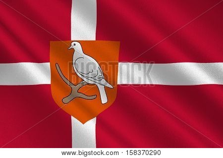 Flag of Morso is a municipality in Region Nordjylland in Denmark. 3d illustration