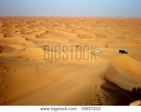 cars in the wide desert