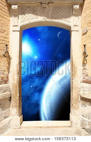 Frame with ancient door and space scene with planet, stars and nebula. 3d render. Elements of this image furnished by NASA