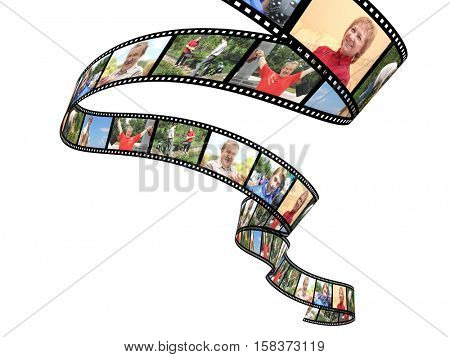 Family photos on filmstrip. Object isolated on white background. 3d render