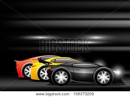 Racing sports cars on a black background.