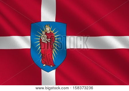 Flag of Thisted is a municipality in Region Nordjylland in Denmark. 3d illustration