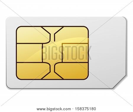 Illustration of sim card on white background