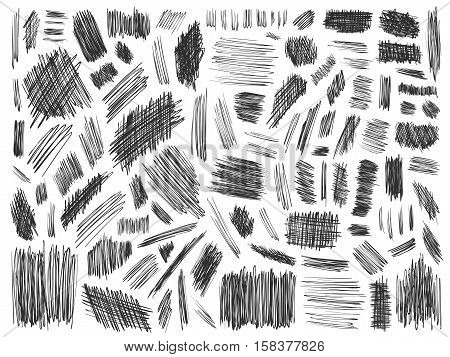 Scribble doodle vector. Big set or simple ink doodles. Pencil effect strokes collection. Sketch design elements. Notebook pen doodles set. Scribbles marks for web design or printed products