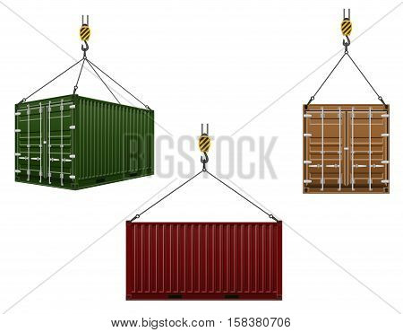 container hanging on the hook of a crane vector illustration isolated on white background