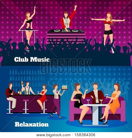 Night club dancing show with cocktail bar  bar and dj 2 flat festive banners isolated vector illustration
