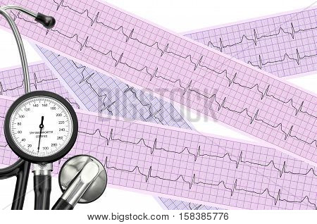Stethoscope on cardiogram sheet of cardiology patient. Cardiologist and medical concept