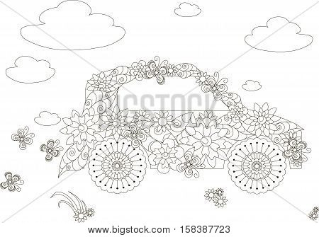 Flowers car, adult coloring page anti-stress stock vector illustration
