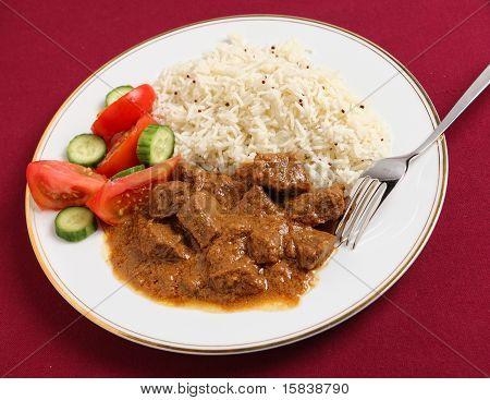 Beef Korma, Basmati And Salad Meal