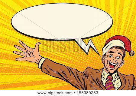 Hello businessman Christmas surprise. Pop art retro vector illustration