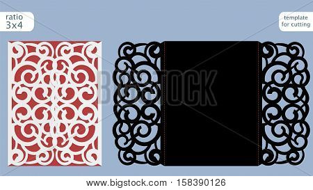 Laser cut wedding invitation card template vector. Die cut paper card with abstract pattern. Cutout paper gate fold card for laser cutting or die cutting template. Vector.