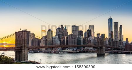 View of Lower Manhattan and the Brooklyn Bridge From the Manhattan Bridge Brooklyn side.