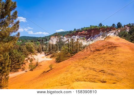 Provence Red Village, Roussillon. Scenic pit mining ocher - natural dyes
