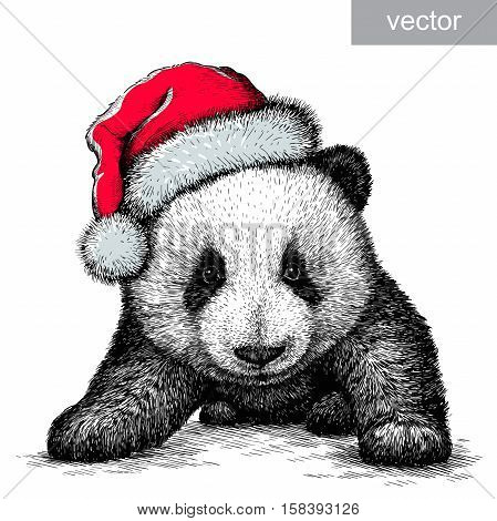 panda, black and white engrave. Christmas hat. vector