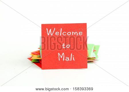 picture of a red note paper with text welcome to mali