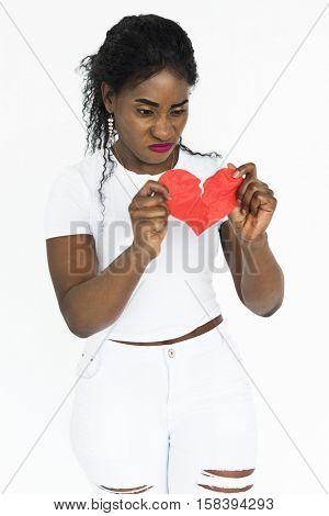 Woman Broken Heart Portrait Concept