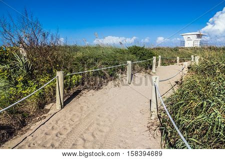way to Fort Pierce beach Florida USA bright blue sky