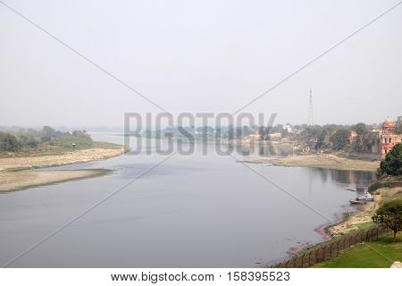 AGRA, INDIA - FEBRUARY 14 : Bank of Yamuna river near the Taj Mahal (Crown of Palaces) in Agra, Uttar Pradesh, India on February, 14, 2016.