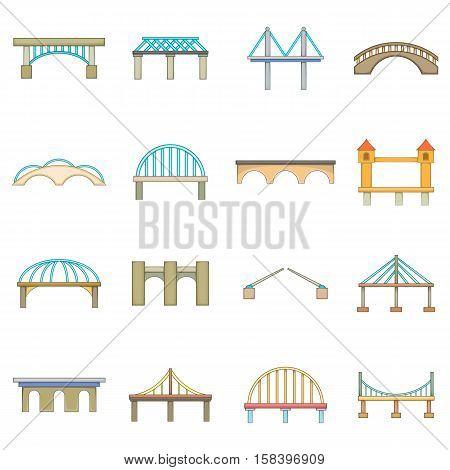 Bridge construction icons set. Cartoon illustration of 16 bridge construction vector icons for web