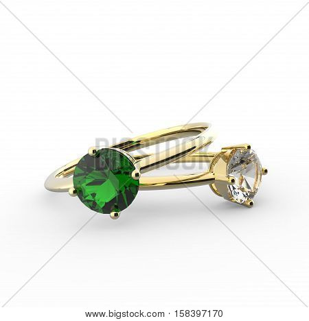 Diamond Rings. Isolated on a white background. 3d digitally rendered illustration