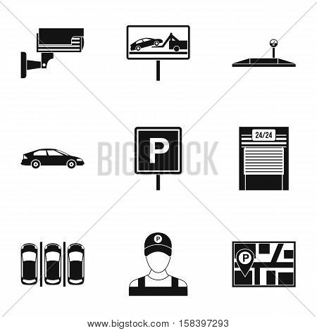 Parking icons set. Simple illustration of 9 parking vector icons for web