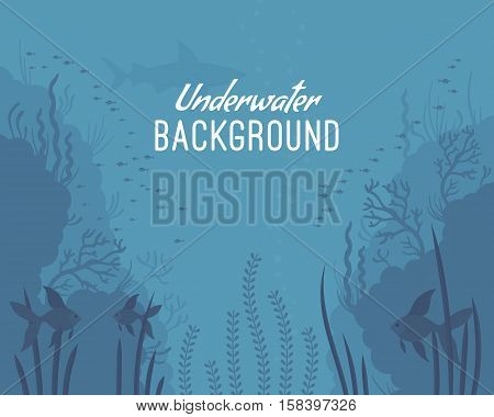 Underwater background, amazing underwater creature of the ocean. Cartoon vector flat-style graphic template