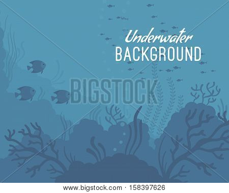 Underwater world sea life. Cartoon vector flat-style graphic template
