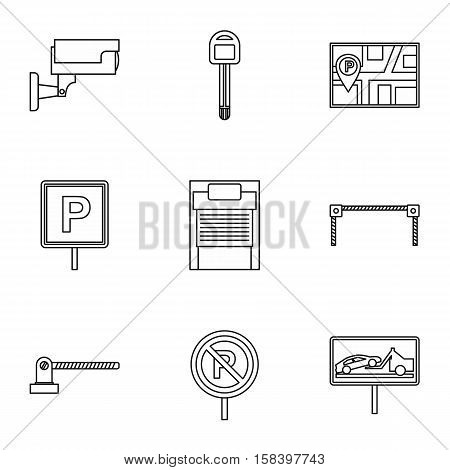 Parking icons set. Outline illustration of 9 parking vector icons for web