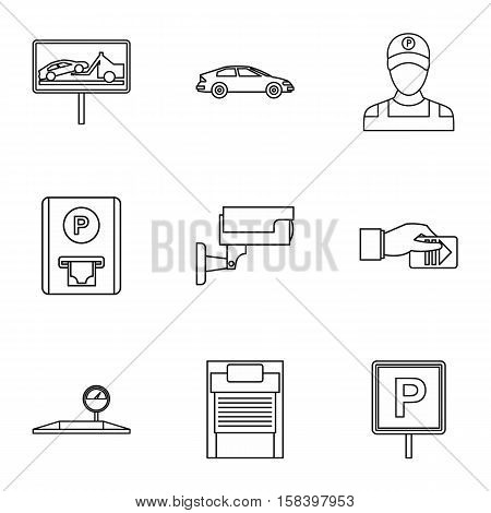 Parking station icons set. Outline illustration of 9 parking station vector icons for web