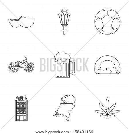 Attractions of Holland icons set. Outline illustration of 9 attractions of Holland vector icons for web