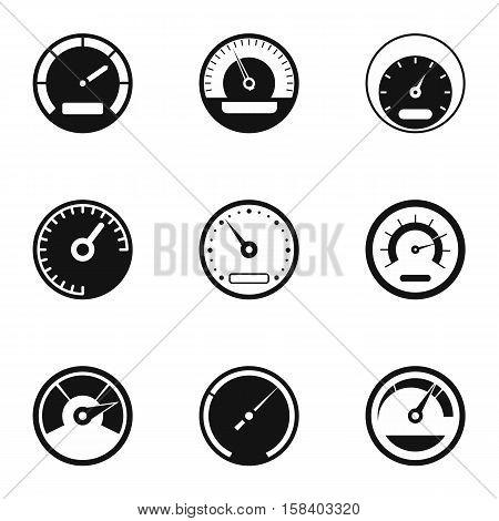 Engine speedometer icons set. Simple illustration of 9 engine speedometer vector icons for web