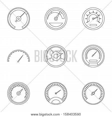 Engine speedometer icons set. Outline illustration of 9 engine speedometer vector icons for web