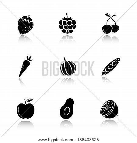 Fruit, berries and vegetables drop shadow black icons set. Strawberry, raspberry, cherries, carrot, garlic, open pea pod, apple, avocado, lemon. Isolated vector illustrations