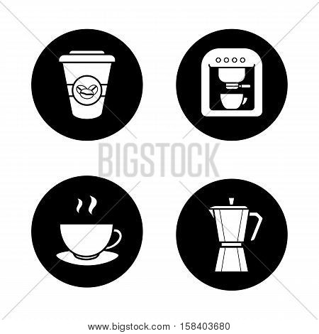 Coffee icons set. Espresso machine, classic coffee maker, steaming mug on plate, disposable paper cup. Vector white illustrations in black circles