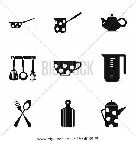 Kitchen utensils icons set. Simple illustration of 9 kitchen utensils vector icons for web