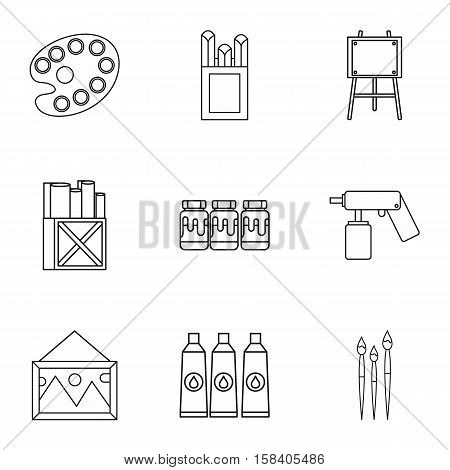 Painting icons set. Outline illustration of 9 painting vector icons for web
