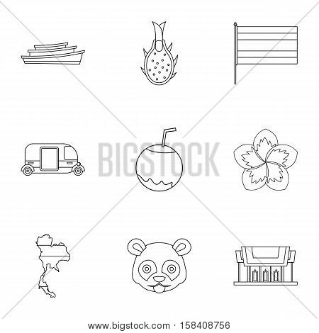 Tourism in Thailand icons set. Outline illustration of 9 tourism in Thailand vector icons for web