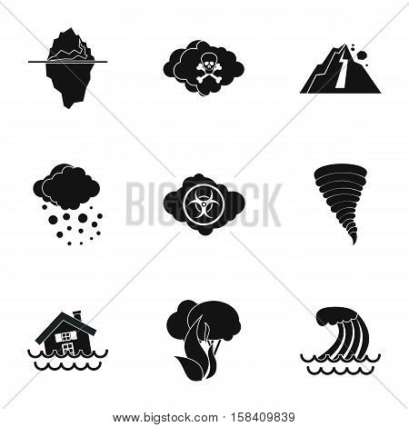Natural disasters icons set. Simple illustration of 9 natural disasters vector icons for web