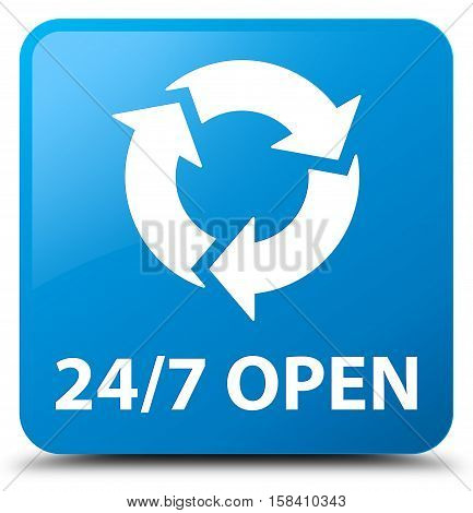 24/7 open (update icon) cyan blue square button